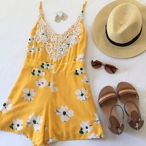Xhilaration Sunny Yellow Floral Romper